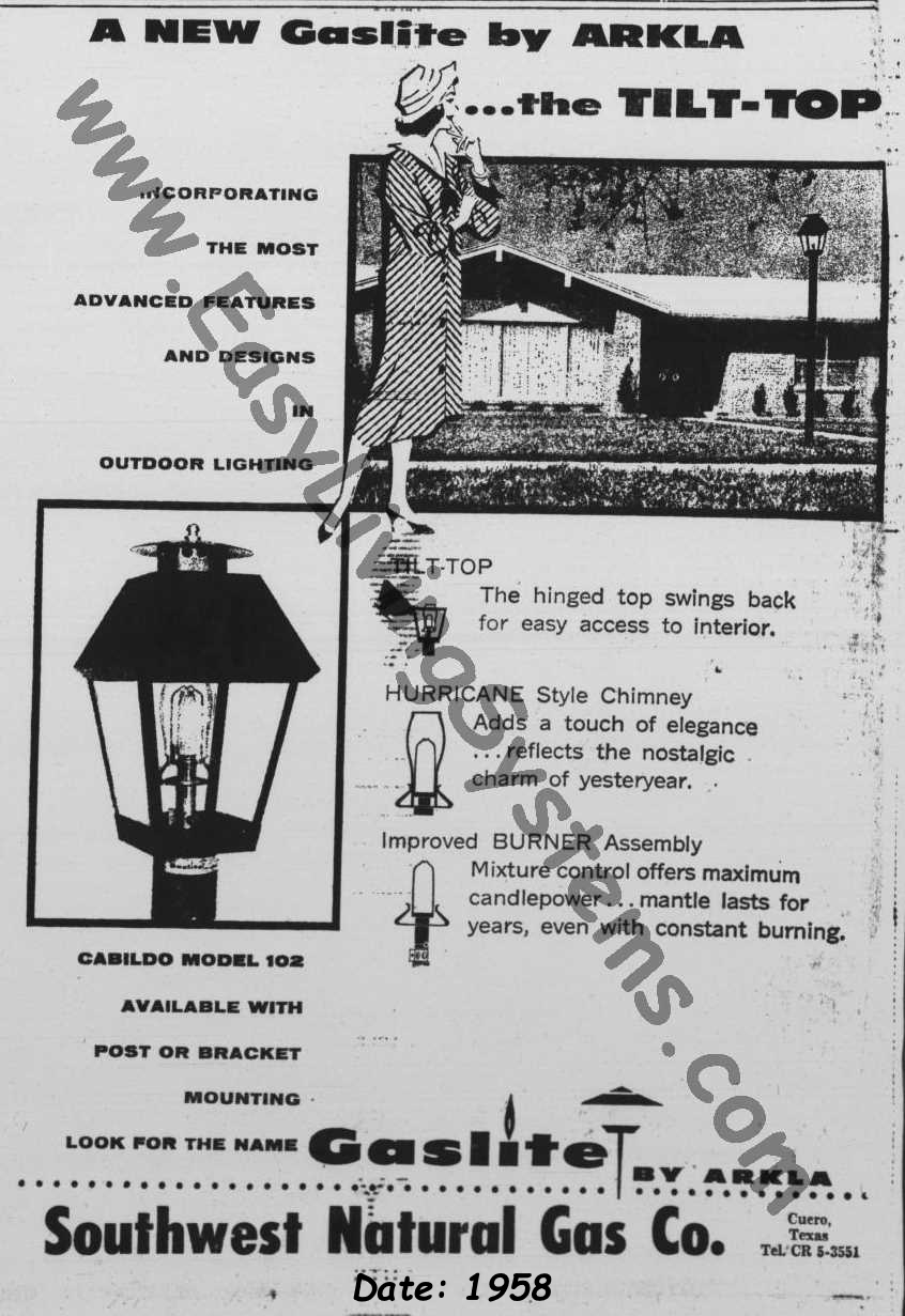 Historical Archival Information for Gaslite Outdoor Gas Street Lamp