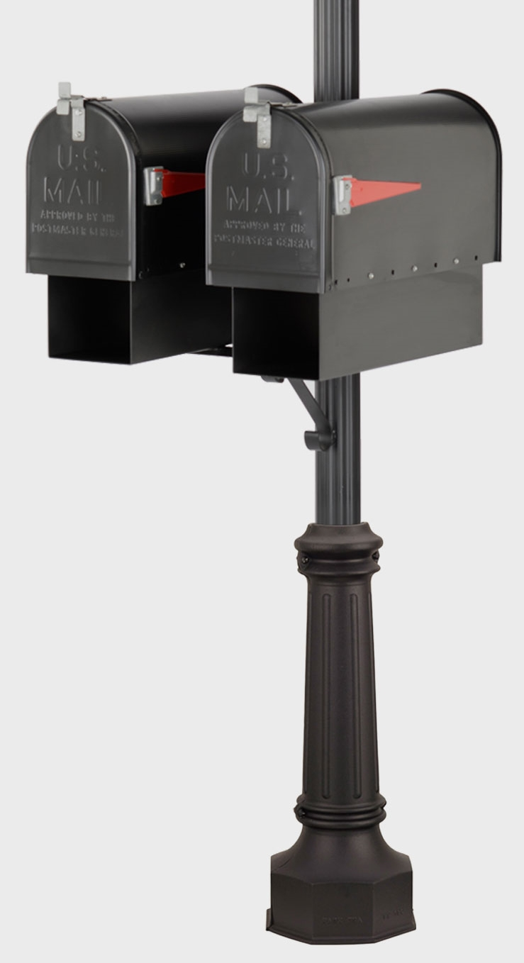 American Gas Lamp Works fluted mailbox and newspaper holder post