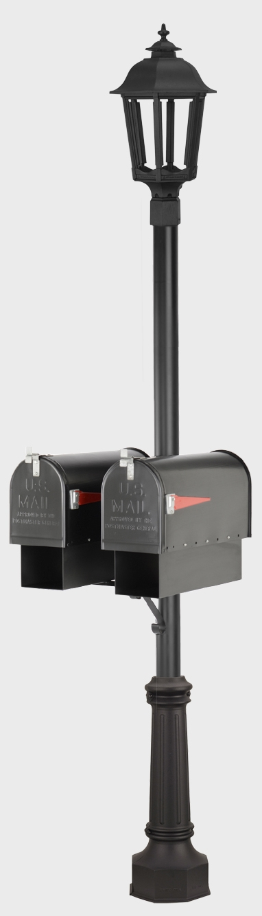 Dual Mailbox Smooth Post with Gas Lamp