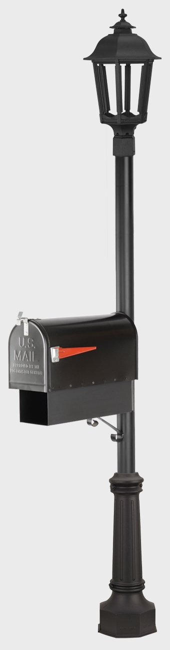 Single Mailbox Smooth Post with Gas lamp