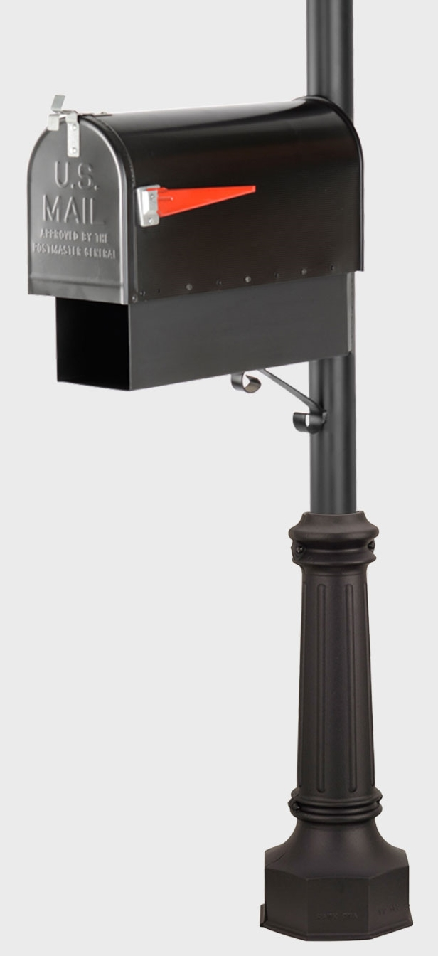 American Gas Lamp Works smooth post mailbox and newspaper holder post