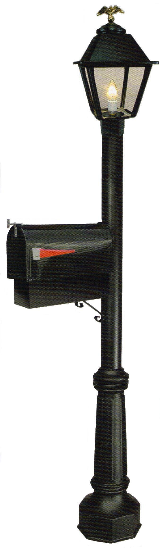 Mailbox post with electric gas light