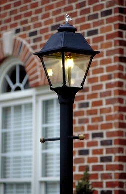 Gas street lamp light fixtures easy living home systems gas yard street post lamp in deck or lawn aloadofball Image collections