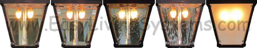 Types of glass panels for gas lights and lamps